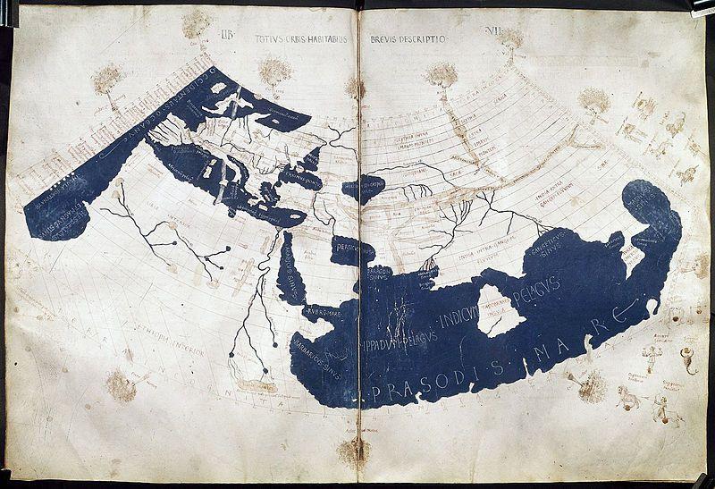 La carte de Ptolémée, montrant l'ensemble du monde connu au IIe siècle ap.J.C.