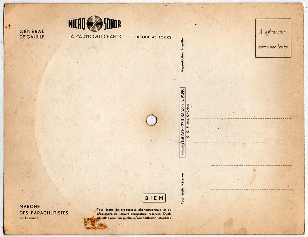 Carte postale musicale Général de Gaulle