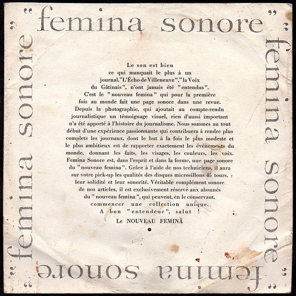 Fémina Sonore n°1- Juliette Gréco - Giuletta Masina-1955