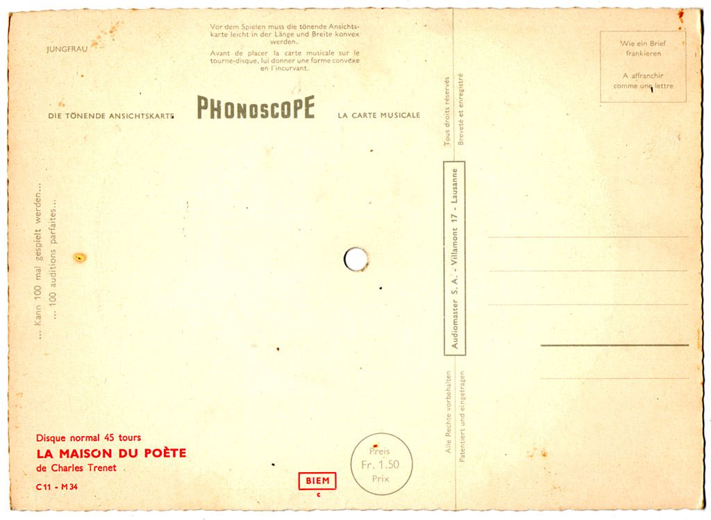 carte musicale 45t - Phonoscope - C11- M34