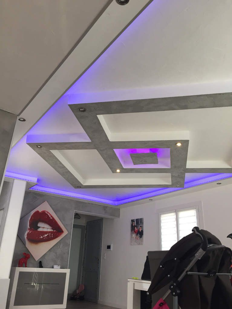 Plafond Placo design relief + led - Deco mezben