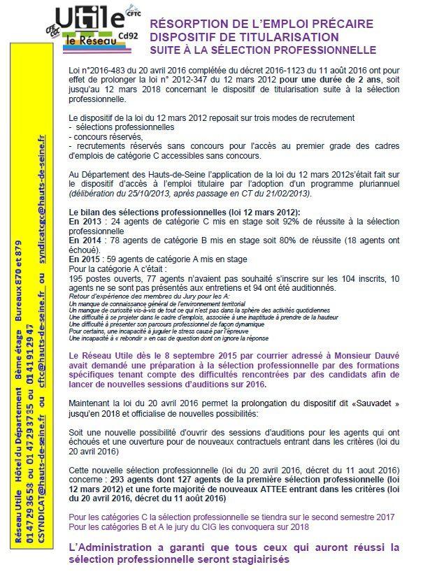 RÉSORPTION DE L'EMPLOI PRÉCAIRE DISPOSITIF DE TITULARISATION SUITE À LA SÉLECTION PROFESSIONNELLE
