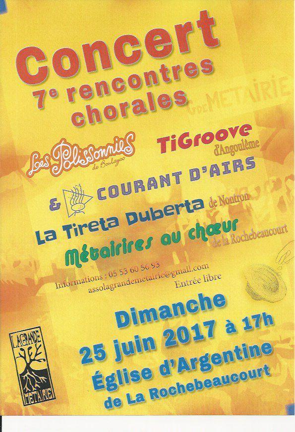 """Après une journée conviviale de rencontre,Cinq Chorales se produiront à l'église d'ARGENTINE(LA Rochebeaucourt) pour votre( et leur!)plus grand plaisir...Entrée libre(paiement """"au chapeau""""!)"""