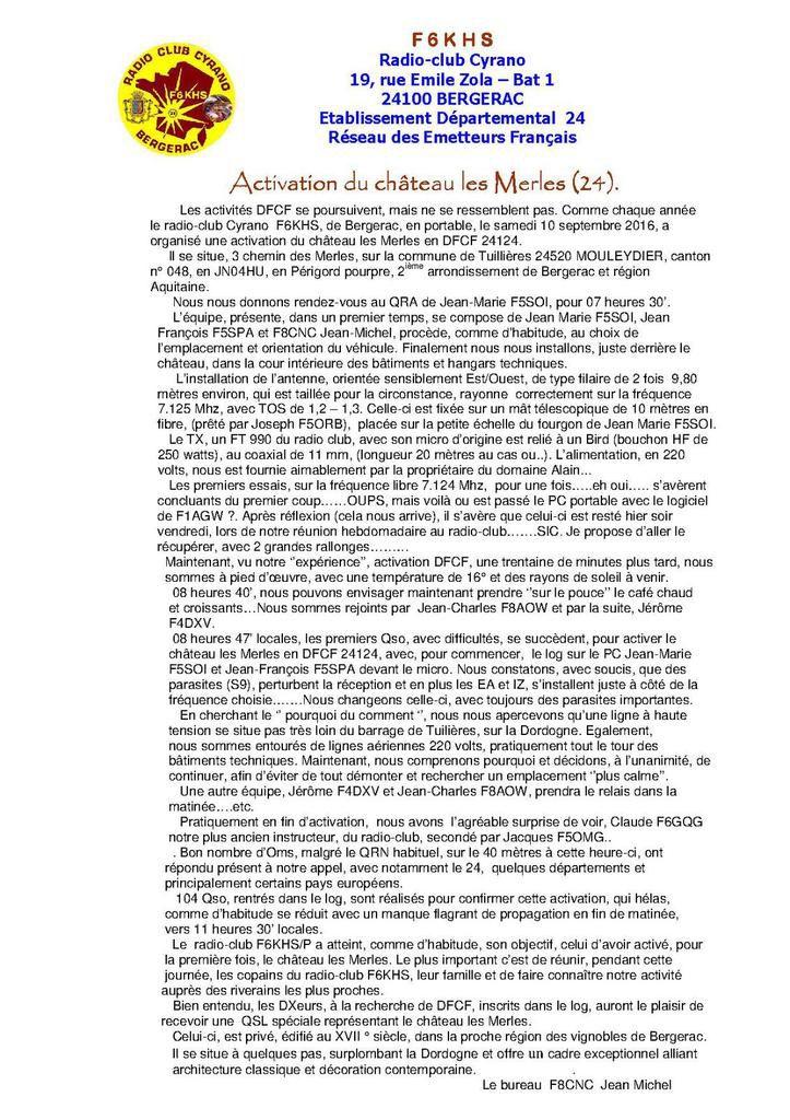 Activation DFCF 24124 château les Merles