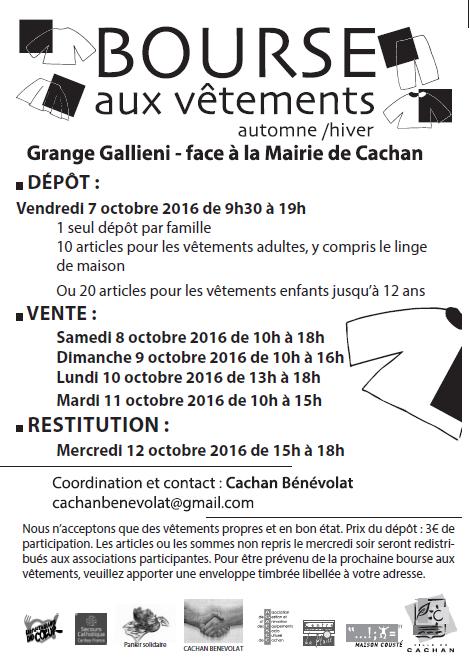 Bourse aux vêtements à Cachan du 7 au 11 octobre