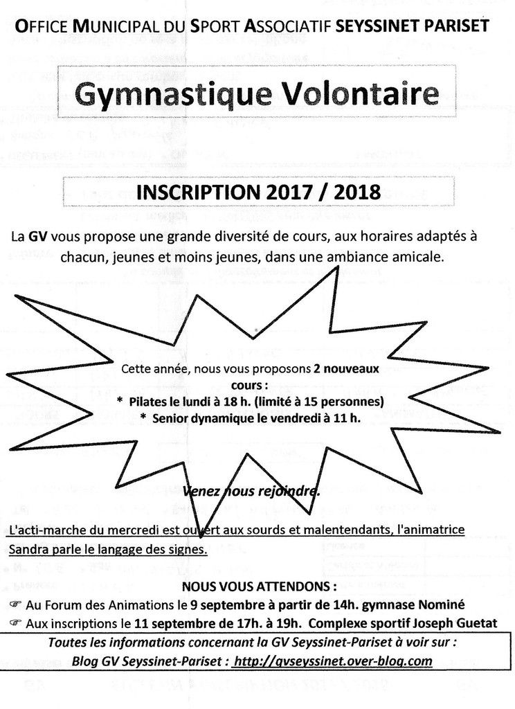 Inscription saison 2017-2018