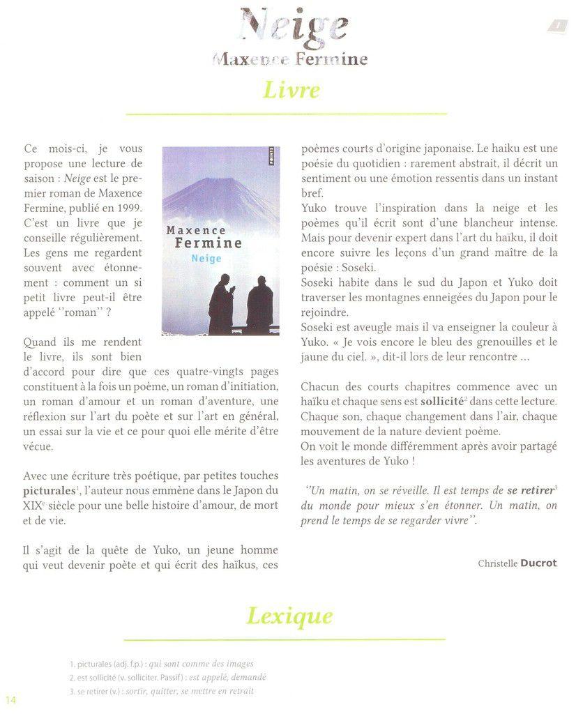 Livres francophones du mois (1) : Neige et Le jeu des hirondelles