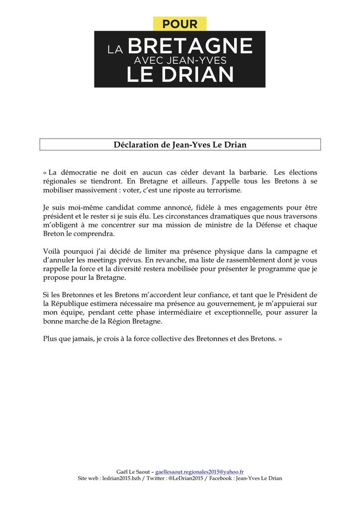 Elections régionales 2015 - Jean-Yves Le Drian