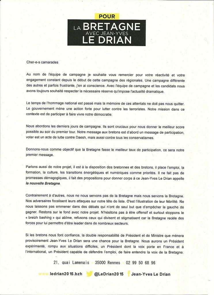 Elections régionales 2015 - Jean-Yves Le Drian.