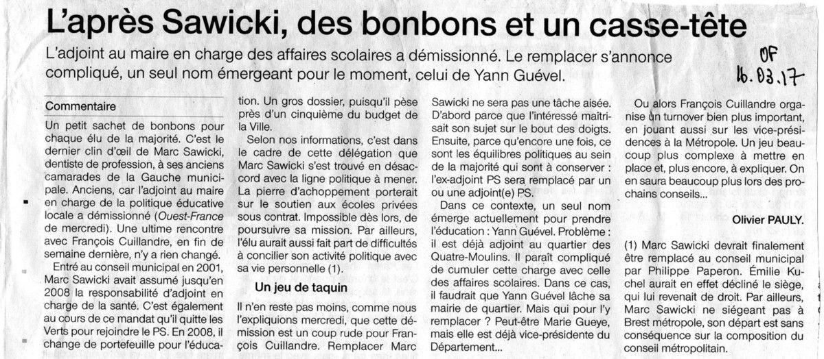 Article paru dans Ouest-France du 16 mars 2017