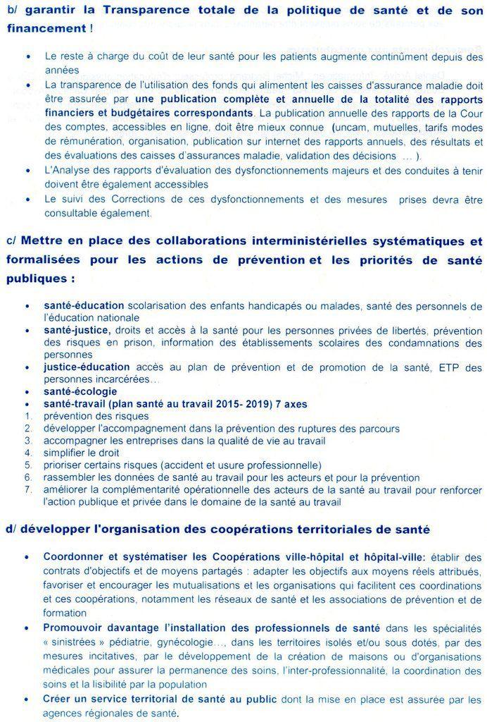 Synthèse 2015 des réunions de travail de la commission santé PRG17