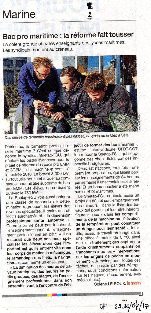 Articles parus dans Ouest-France des 21 mars et 29 avril 2017