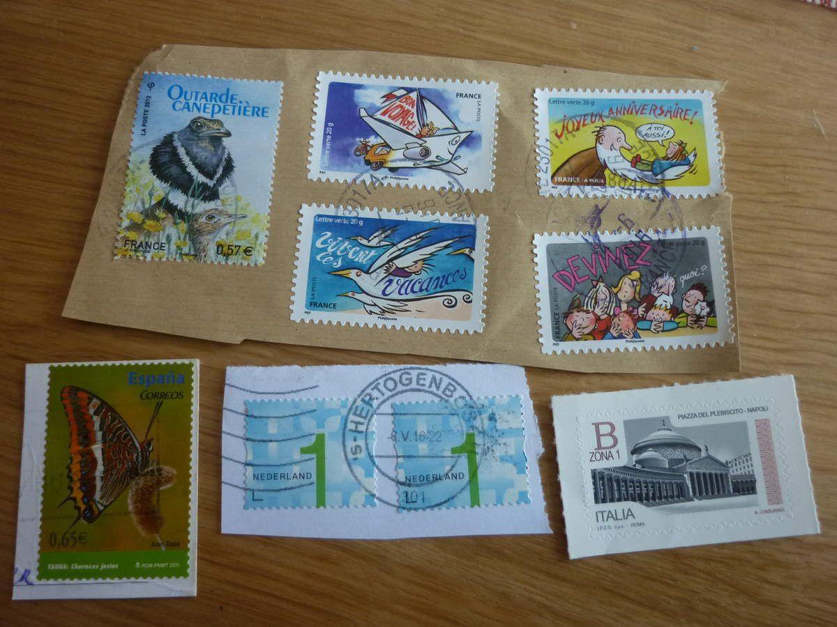 Août 2016 - Envoi à Caroline J. - timbres
