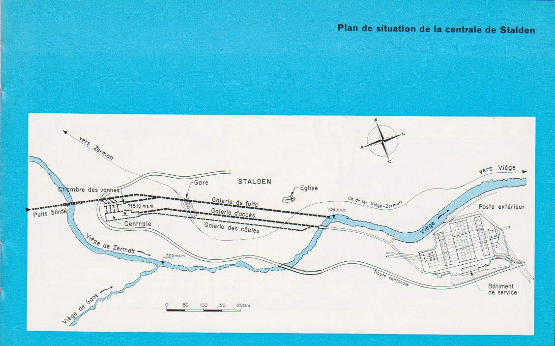 Plan de situation de la centrale de Stalden
