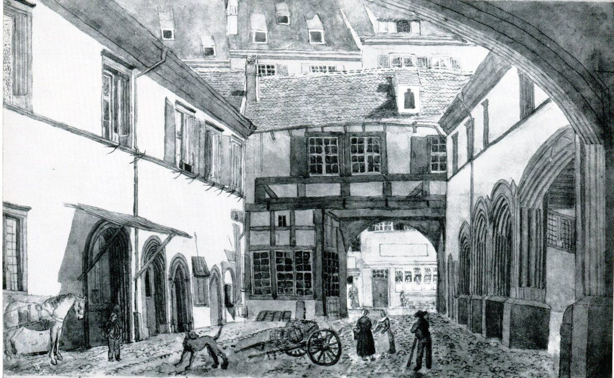 Cour de la Bourse du Commerce, avec vue sur la Freie Strasse (Aquarelle d'A. Benz, vers 1840)