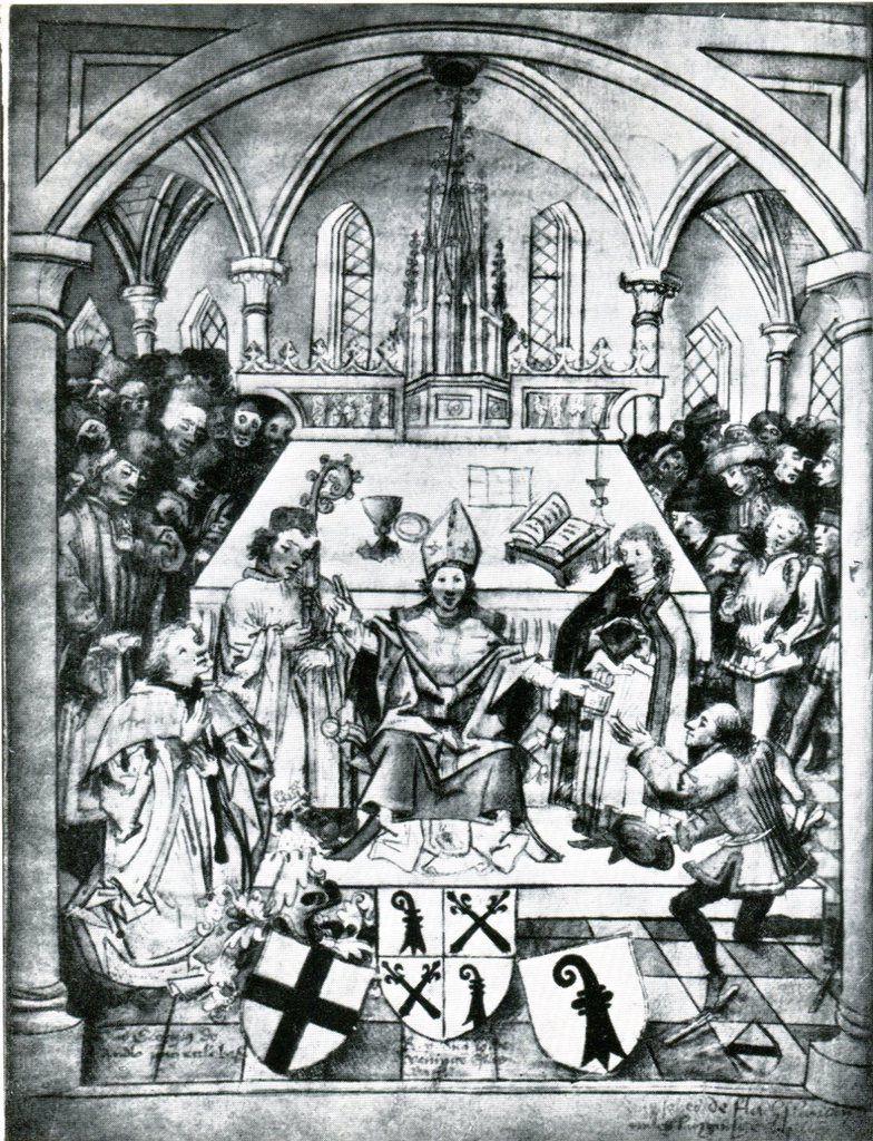 Cérémonie inaugurale de l'Université à la Cathédrale, le 4 avril 1460