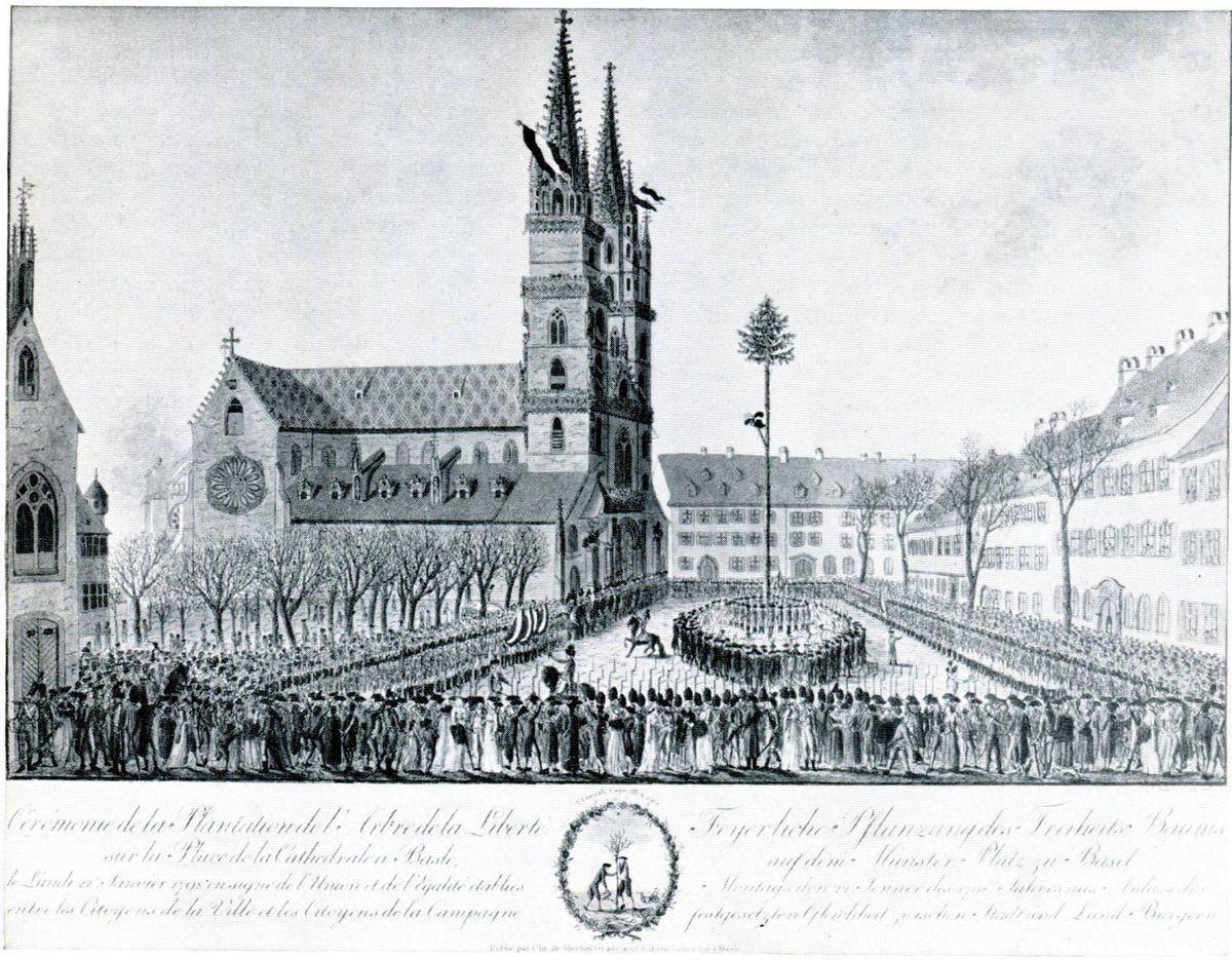 L'arbre de la liberté sur la place de la Cathédrale, 1798 (Gravure coloriée de F. Kaiser).
