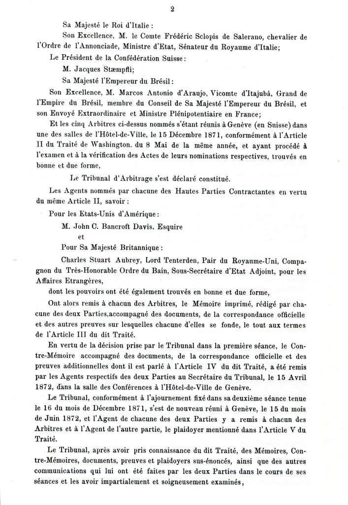 Arbitrage de l'Alabama Genève 1872 [La Décision]