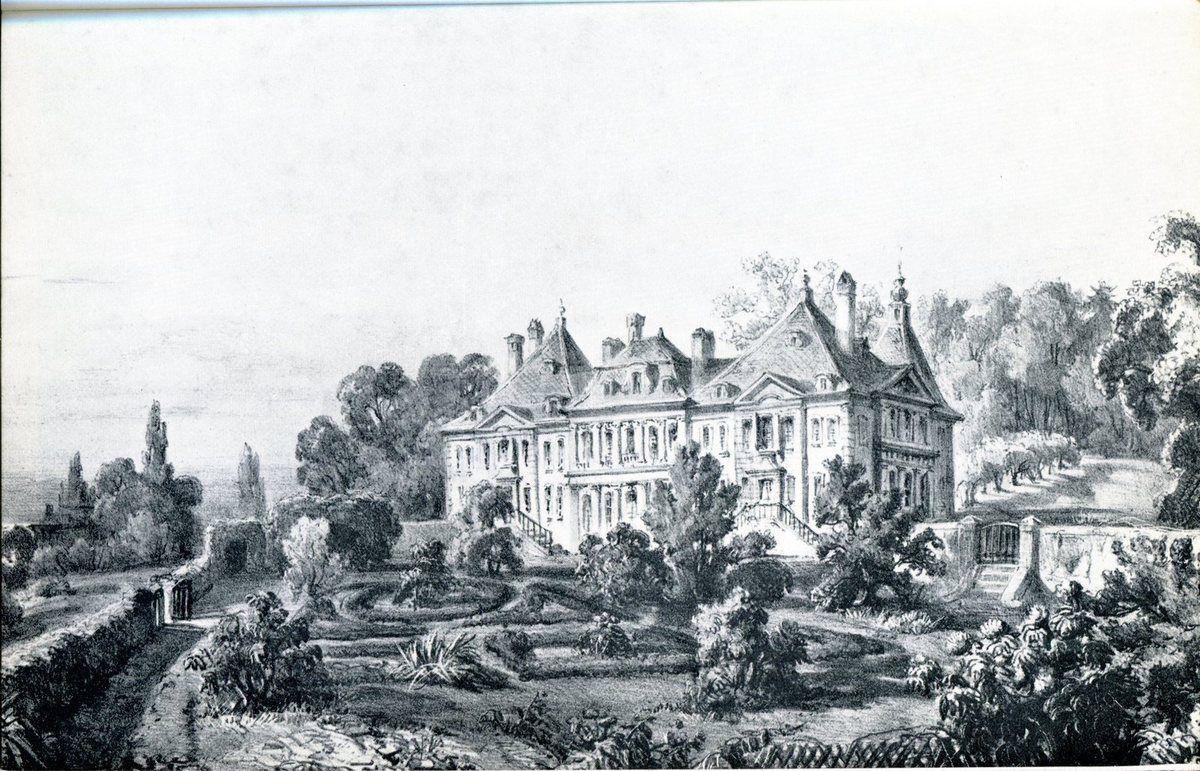 Le château et le parc de Beaulieu au XVIIIe siècle, d'après une lithographie de Spengler.