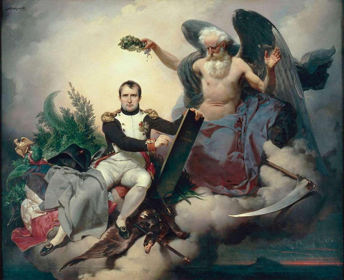 Napoléon Ier couronné par le Temps, écrit le Code Civil