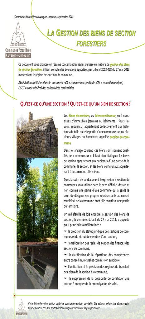 LLAA GGESTIONESTION DESDES BIENSBIENS DEDE SECTIONSECTION FORESTIERSFORESTIERS
