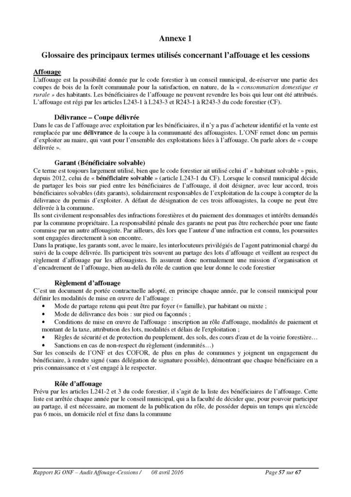 Rapport d'audit sur l'affouage par l'ONF