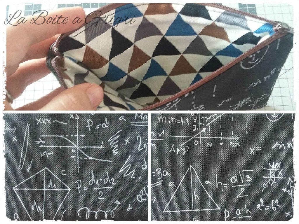 Simili cuir math/geometrie, tissu triange et fe marron