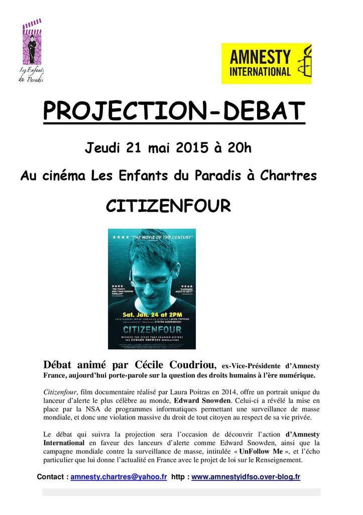 """Chartres, 21 mai, ciné-débat """"Citizenfour"""""""