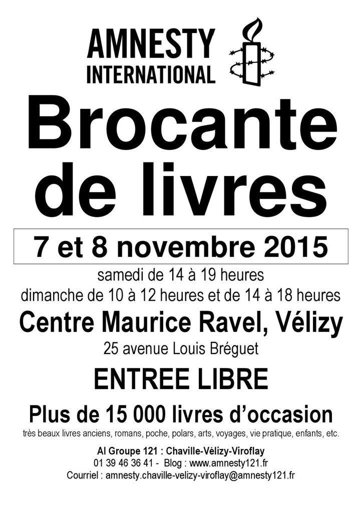 Vélizy, 7 et 8 novembre, Grande Brocante de Livres d'Amnesty
