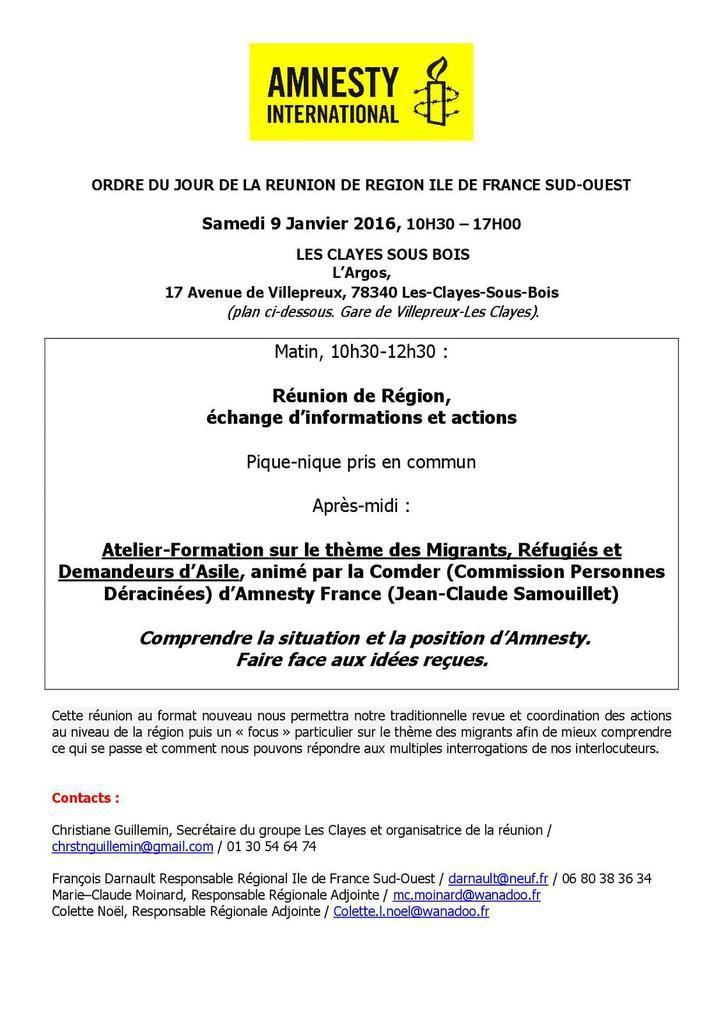 Les Clayes sous Bois, 9 janvier, réunion de région Ile de France Sud-Ouest