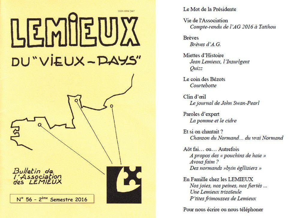 Lemieux du &quot&#x3B;Vieux-Pays&quot&#x3B; n°56 - 2e semestre 2016