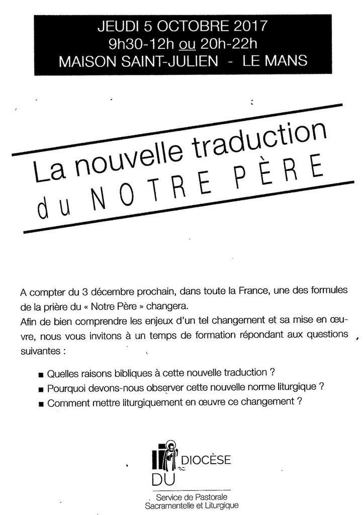 LA NOUVELLE TRADUCTION DU &quot&#x3B;NOTRE PERE&quot&#x3B;