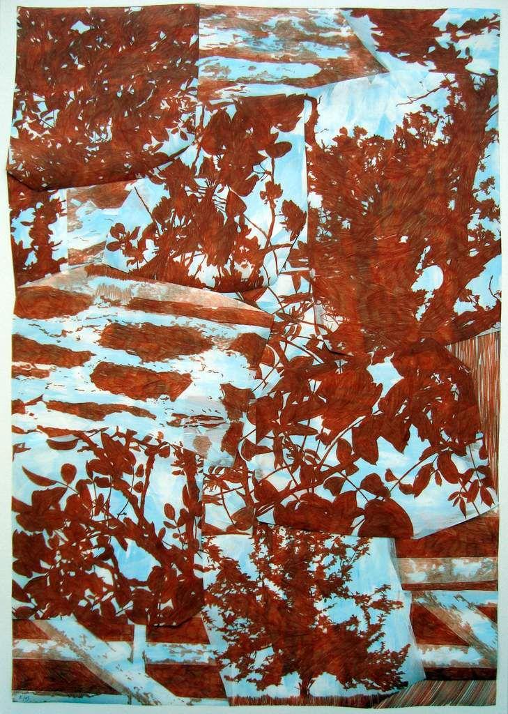 Dé-paysage (suite), Richebourg J, 2015, 96.5 X 66 cm, sanguine + peinture à la colle / polyester et papier
