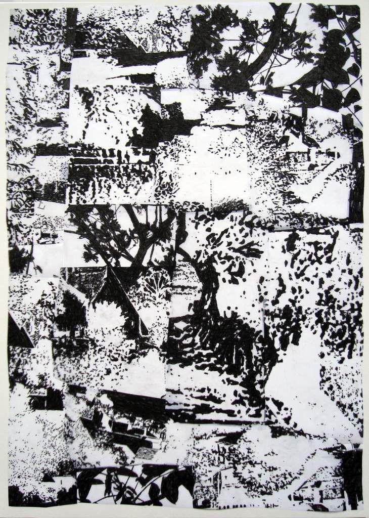 Dé-paysages 63 (suite), 96 X67 cm, 2015, pierre noire plus peinture à la colle / polyestere