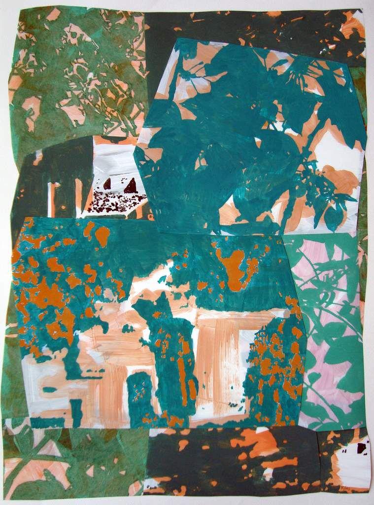 Dépaysages 68 (suite), 67 x 49 cm, pastel + peinture à la colle / polyester, 2015