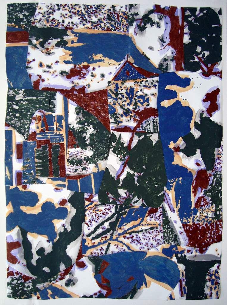 Dépaysage 76 (suite), 103 x 75 cm, peinture à la colle / polyester, 2016