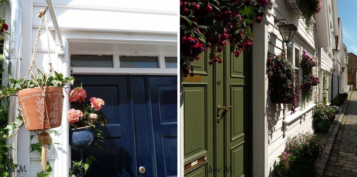 Et des jolies maisons en bois et très fleuries (ici dans la vieille ville de Stavanger)