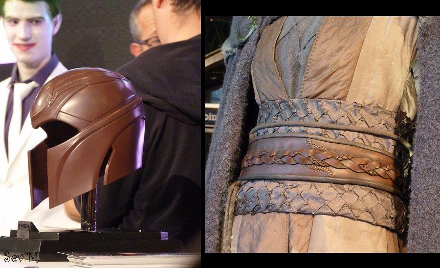 Sur un stand on pouvait gagner le heaume de Magneto ! A droite, un costume du film Warcraft.