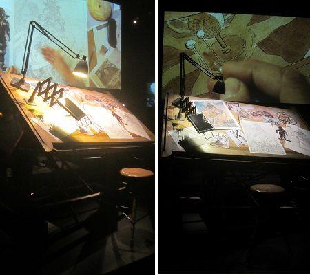 Le bureau du dessinateur Schuiten présenté dans l'exposition !