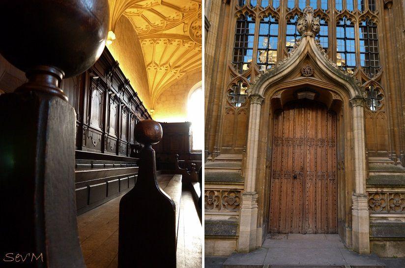 Toujours à la Bodleian, encore la salle de classe (en fait une salle pour les soutenances de thèses). Et l'entrée de la bibliothèque.