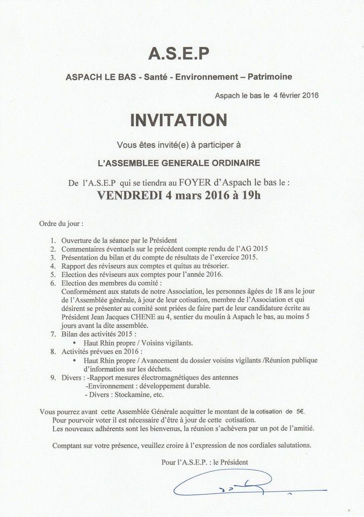 Invitation signée