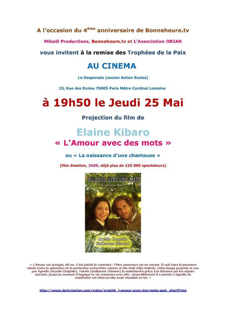 Projection Elaine Kibaro au cinéma suivie de la remise des Trophées de la Paix