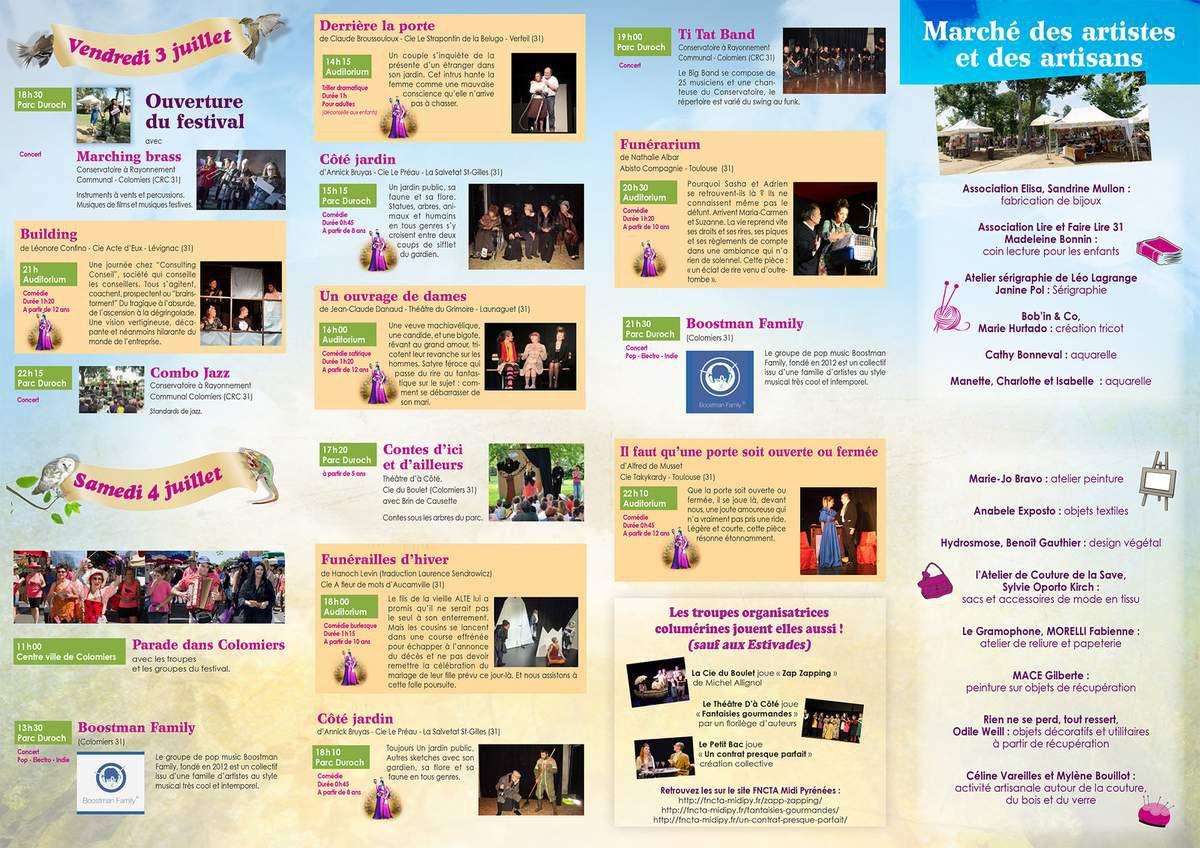 Programme des Estivades 2015