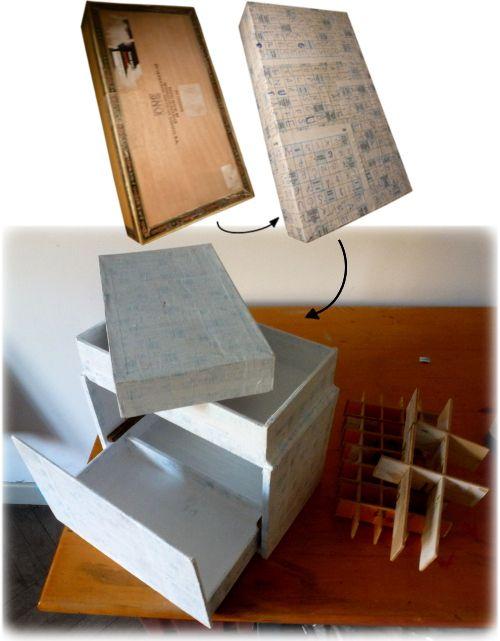 Coffret en boîtes de cigares recyclées/ Chest from repurposed cigar boxes
