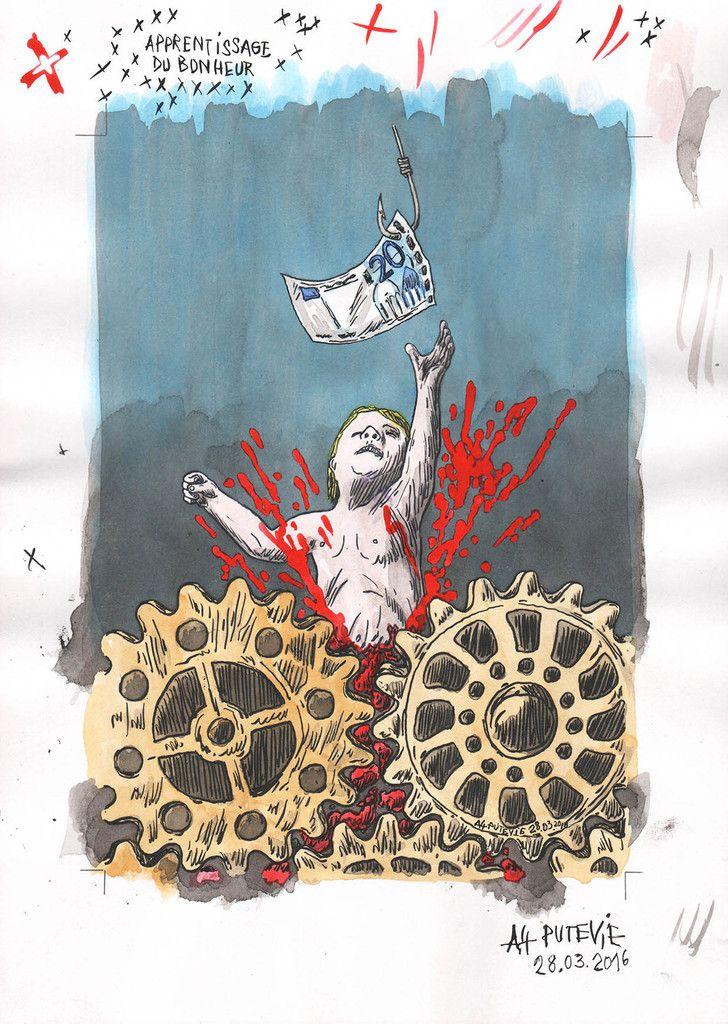 HELLcome to the future generation, deuxième illustration pour NIQUE LA KRO n°25 < du salaire à vie sans conditions. Avenir ou fumisterie? > (ichor putride)