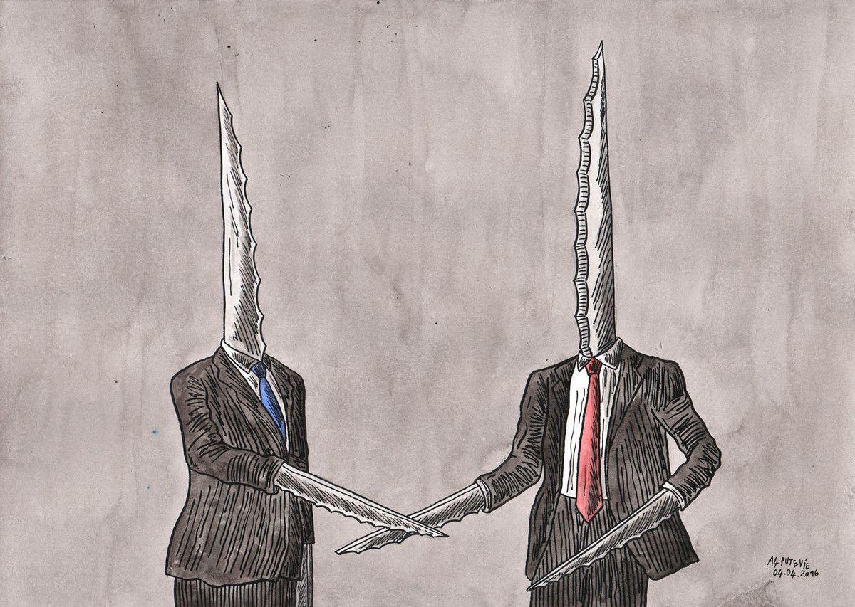 Deux types du gouvernement se saluent avec sourire en coin. (29,7x21cm)