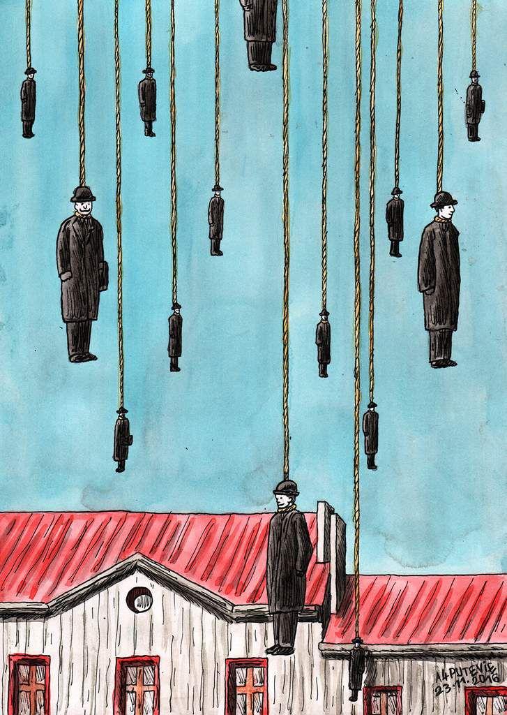 Promesse d'espoirs ou tragi-comédie (29,7x21cm) d'après Golconde de René Magritte.
