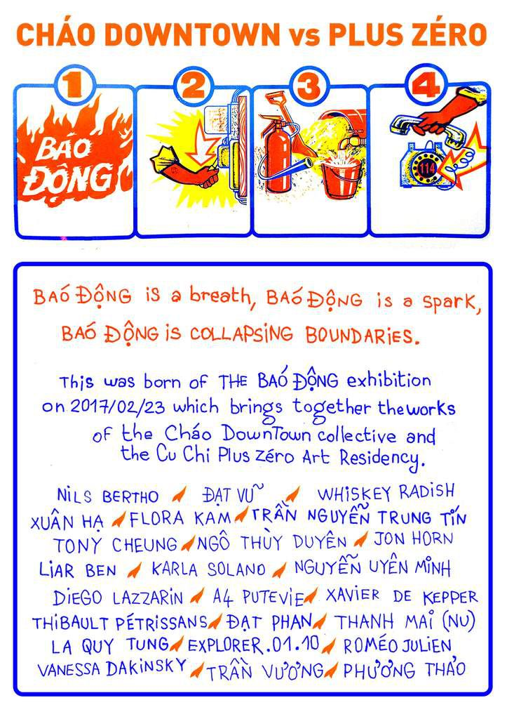 BÁO ĐỘNG is a breath, BÁO ĐỘNG is a spark, BÁO ĐỘNG is collapsing boundaries,BÁO ĐỘNG is collective portifolio zine with 24 artists from Cháo Downtown and art residency Cu Chi/+0. special thanks to Jon Horn.