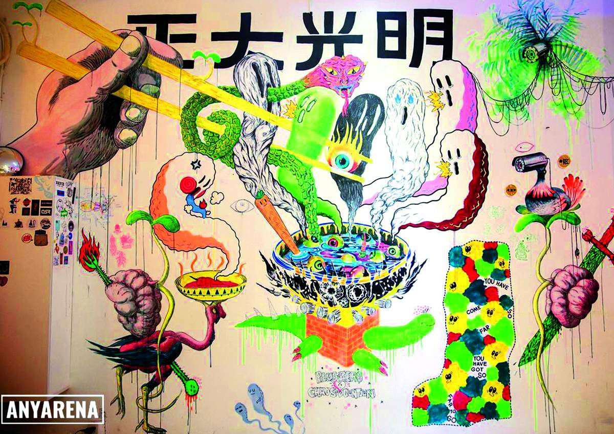 collective wall painting during the Bao Dong Show ! an art exhibition in Chaos downtown gallery with: Diego Lazzarin, Nils Bertho, Salvatore Giommarresi, Tsai Hsiang Huang, Vanessa Dakinsky, Tony Cheung, Jon Horn and A4 putevie. Cu Chi plus zero, Saïgon. Photo credit by Tuan Tran - ANYARENA.