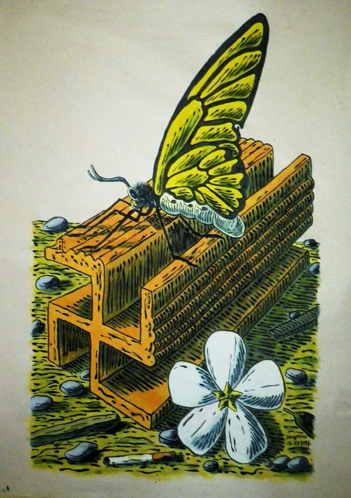 Butterfly on brick ( acrylic on rice paper 80x60cm ). Cu Chi/plus zero.